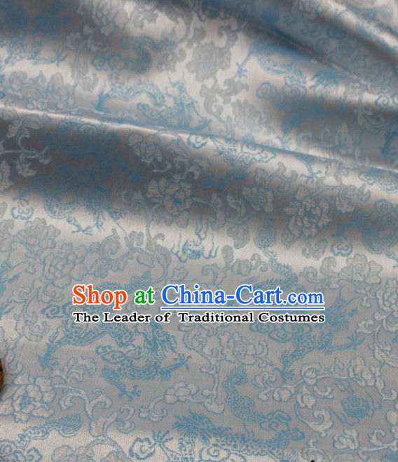 Chinese Traditional Silver Brocade Dragon Fabric
