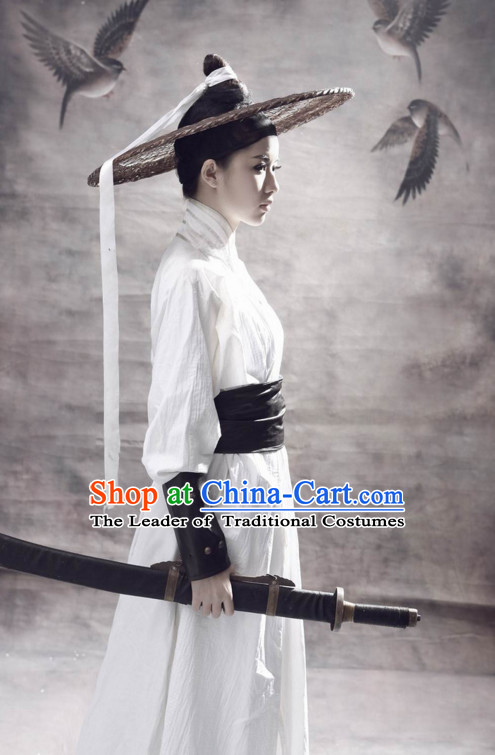 Ancient Chinese Swordsmen Costume and Hat Complete Set