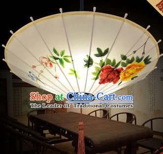 Chinese Classical Handmade and Painted Silk Hanging Umbrella Lantern