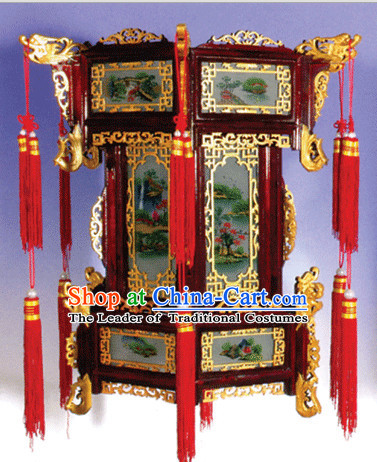 Three Layers Chinese Classical Handmade and Carved Hanging Palace Lantern