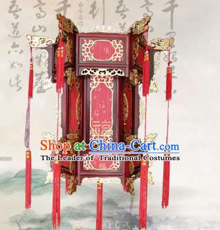 Red Golden Dragon Chinese Classical Handmade and Carved Hanging Palace Lantern