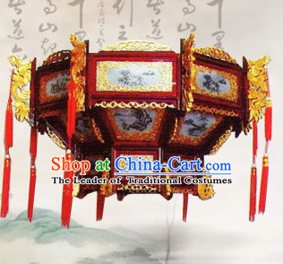 1 Meter High Red Golden Dragon Chinese Classical Handmade and Carved Hanging Palace Lantern
