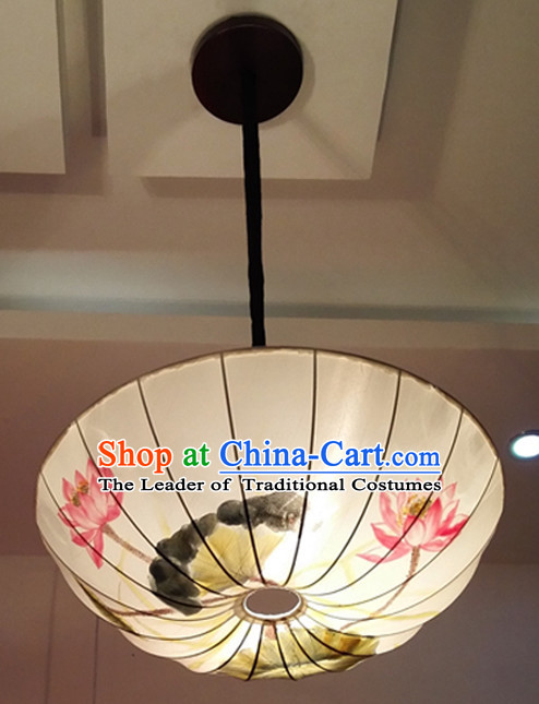 Chinese Classical Handmade and Painted Silk Hanging Umbrella Palace Lantern