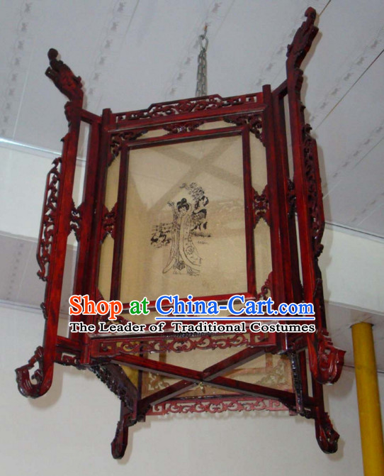 Red Song Dynasty Chinese Classical Handmade and Carved Hanging Palace Lantern