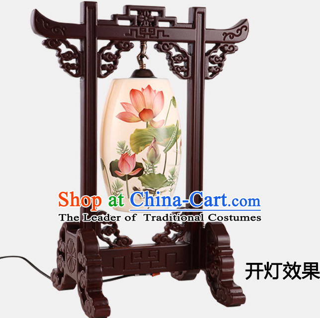 Chinese Classical Handmade Ceramics Desk Lantern