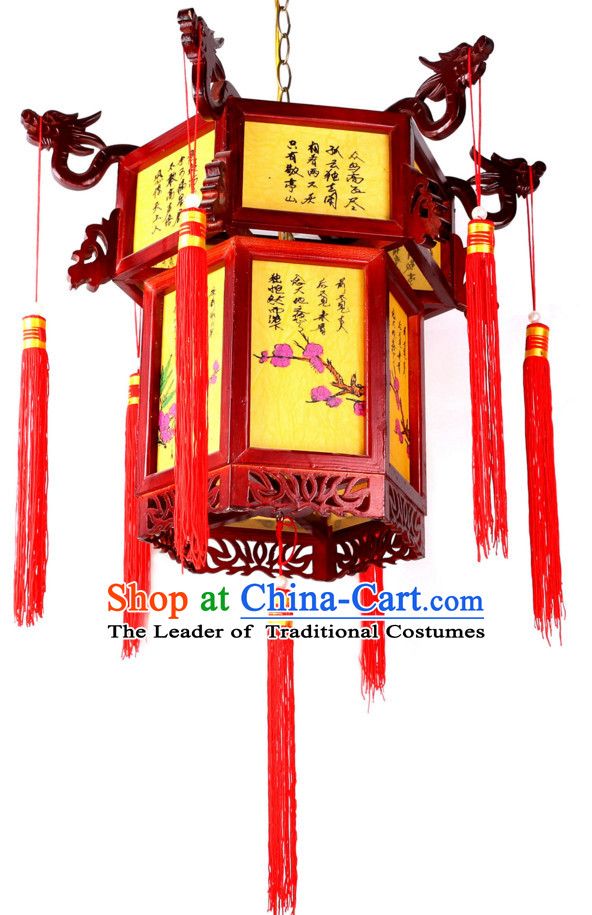 Traditional Chinese Classical Natural Wood Hanging Palace Lantern