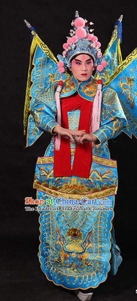 Ancient Chinese Opera Embroidered Dragon General Costumes Complete Set