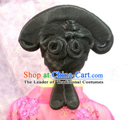 Chinese Qing Dynasty Princess Female Hairstyle Long Black Wigs