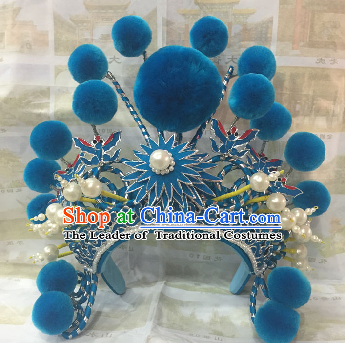 Traditional Chinese Opera Blue Headpiece for Women