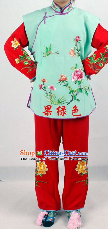 Chinese Traditional Opera Embroidered Flower Lady Costume for Women and Girls