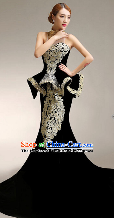 Top Chinese Black Long Tail Evening Dress Complete Set