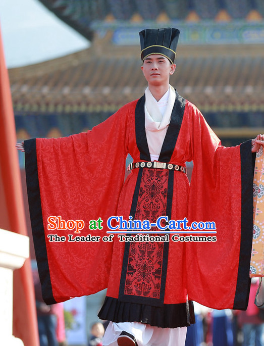 Top Chinese Tang Dynasty Bridegroom Wedding Dress and Hat Complete Set for Men
