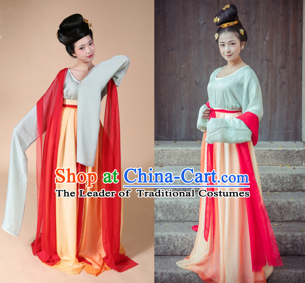 Top Chinese Tang Dynasty Clothing and Hair Jewelry Complete Set for Women