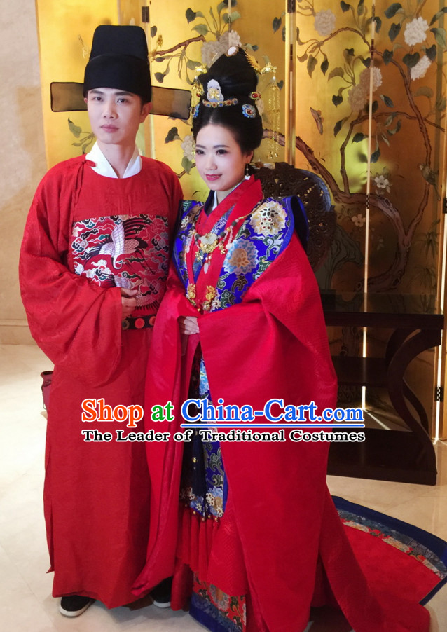 Top Chinese Ming Dynasty Wedding Dresses Clothing and Hats 2 Complete Set for Brides and Bridesgroom
