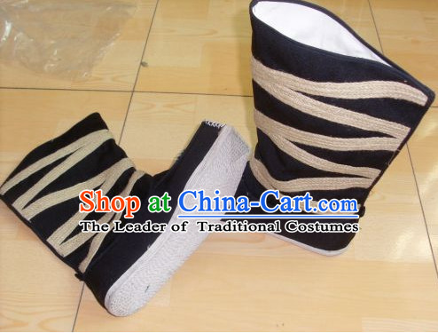 Ancient Chinese Handmade Black Boots Shoes