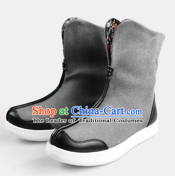 Traditional Chinese Style Classic Handmade Grey Boots for Men