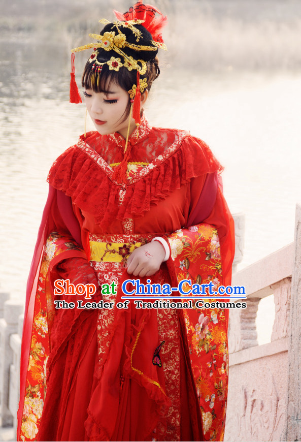Ancient Chinese Princess Wedding Dresses and Hair Jewelry Complete Set for Women