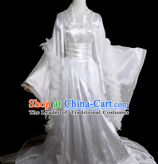 Traditional Chinese Classical Pure White Bridal Dress for Women