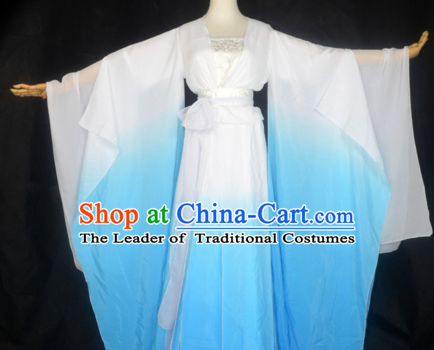 Blue to White Traditional Chinese Classical Dancing Costumes for Women