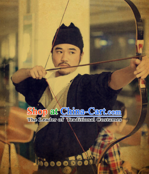 Ancient Chinese Swordsman Costume and Hat Complete Set for Men