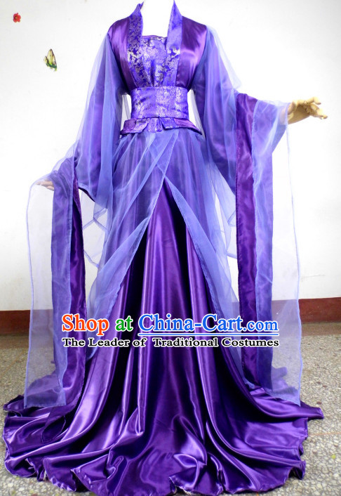Purple Traditional Chinese Classical Fairy Princess Costumes Complete Set for Women or Girls