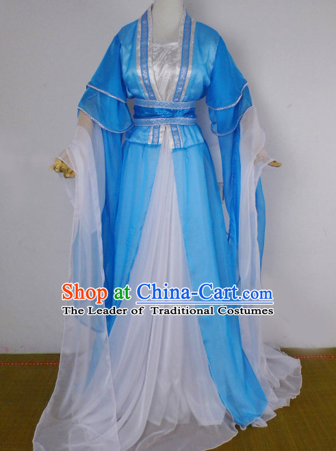Blue and White Traditional Chinese Classical Hanfu Clothes Complete Set with Long Tail