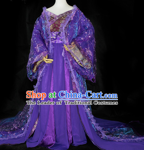 Purple Traditional Chinese Classical Empress Costumes Complete Set with Long Tail