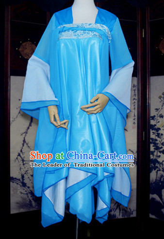 Blue Ancient Chinese Classical Dance Costume Complete Set for Women or Girls