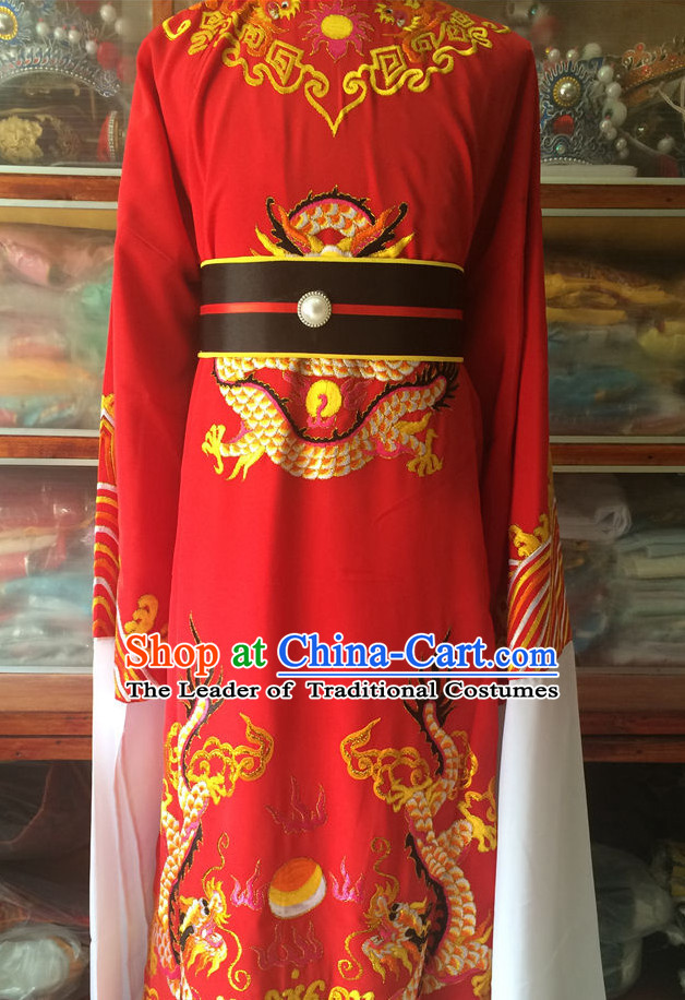 Ancient Chinese Opera Embroidered Dragon Emperor Costumes Complete Set for Men