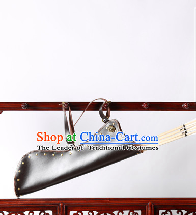 Chinese Ancient Handmade Leather Arrow Bags Hanfu Props Decorations