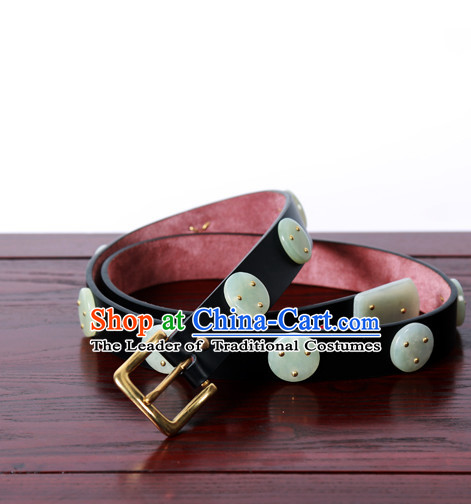Chinese Ancient Handmade Jade Leather Hanfu Belt