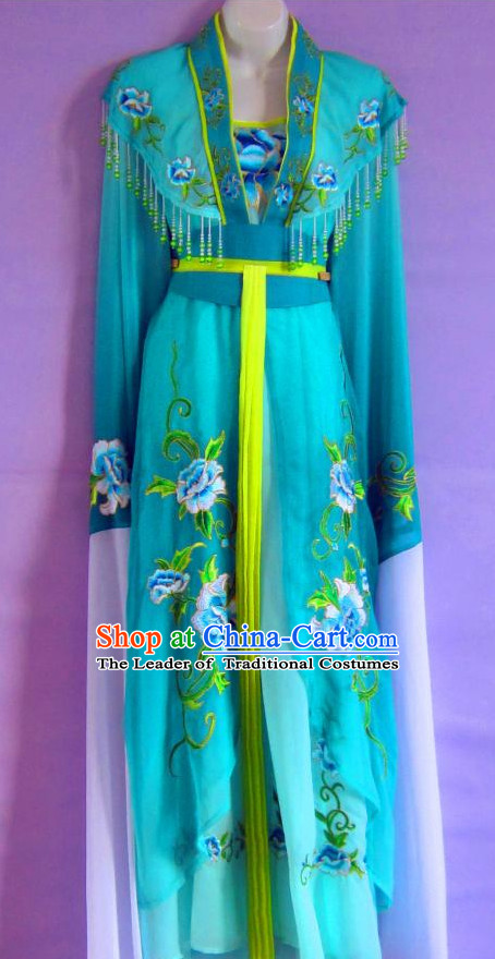 Ancient Chinese Lake Blue Hanfu Dresses Complete Set for Women