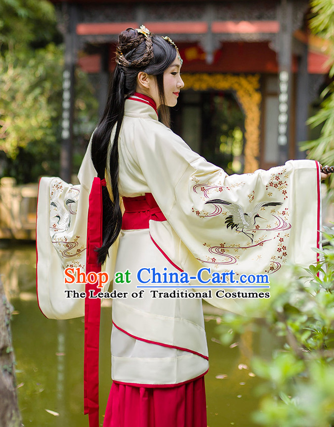 Chinese Ancient Hanfu Dress Crane Embroidery and Headpieces Complete Set for Women