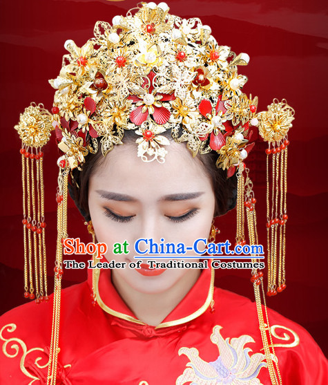 Traditional Chinese Princess Brides Wedding Headpieces Phoenix Crown Coronet