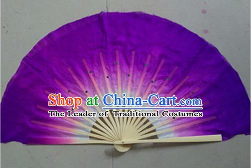 Color Transition Purple White Silk Dance Fan