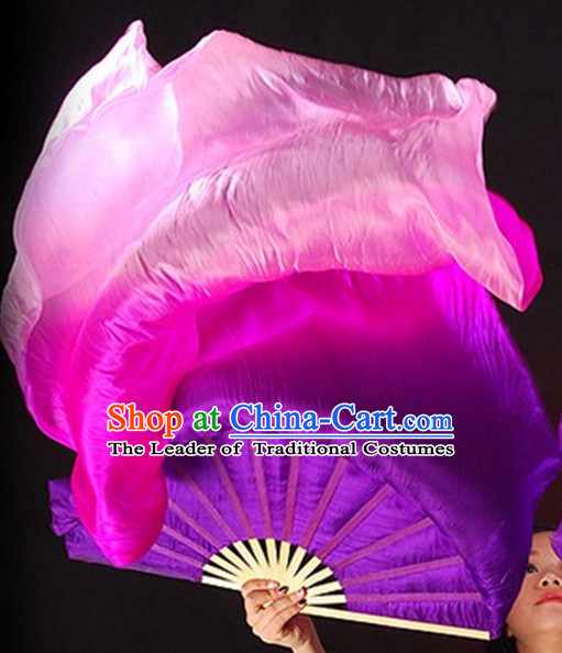1.5 Meters Long Color Transition Silk Dance Fan