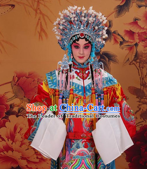 Top Embroidered Chinese Classic Peking Opera Empress Costume Beijing Opera Phoenix Costumes Complete Set for Adults Kids Women Girls