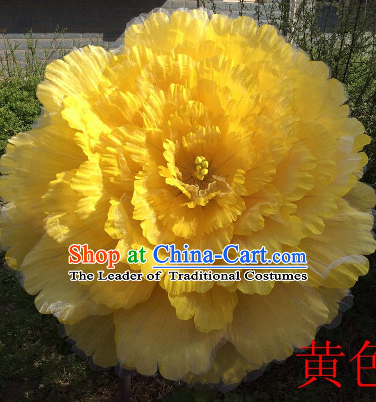 31.5 Inches Yellow Professional Stage Performance Large Peony Flower Umbrella