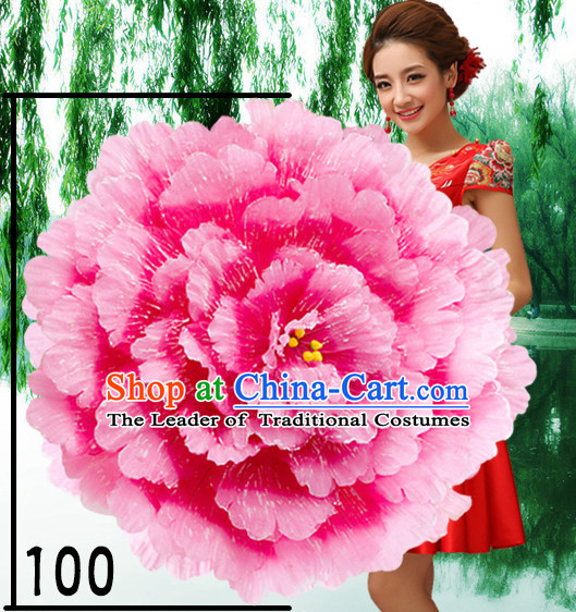 39 Inches Yellow Professional Stage Performance Large Peony Flower Umbrella