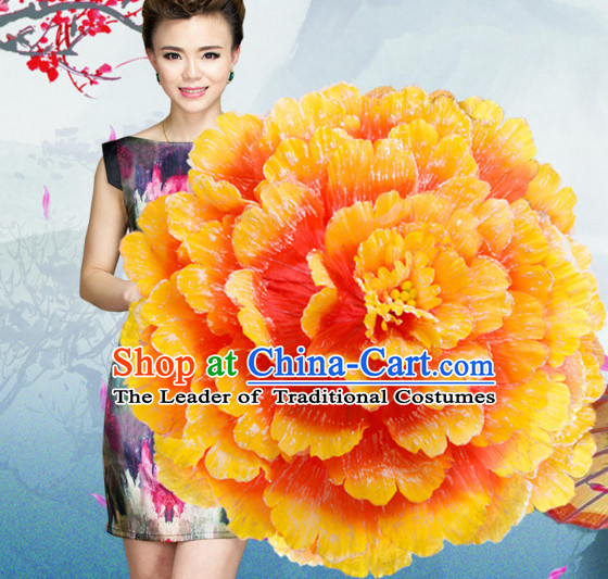 35 Inches Yellow Professional Stage Performance Large Peony Flower Umbrella