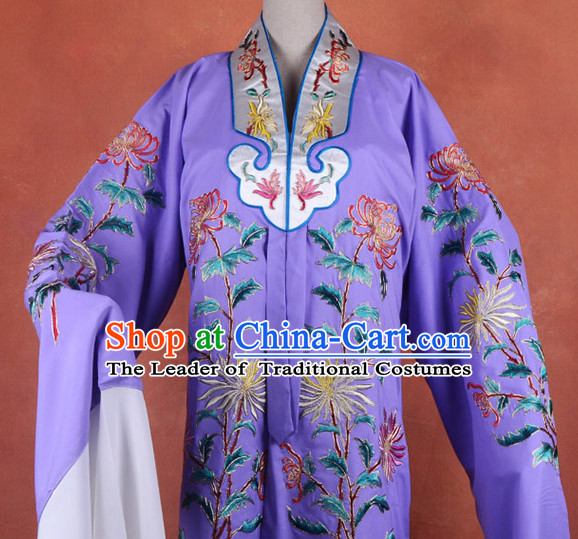 Top Embroidered Chinese Classic Peking Opera Female Costume Beijing Opera Long Robe Costumes Complete Set for Adults Kids Men Boys