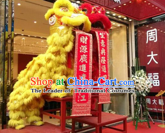 Red NEW 100_ Natural Wool  Chinese Folk Art Lion Dance Costumes Complete Set