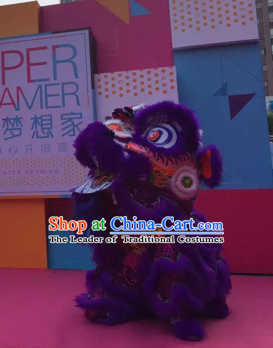 Purple NEW 100% Natural Wool Supreme Chinese Lion Dance Costumes Complete Set