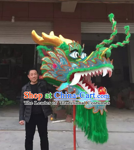 Green Chinese Spring Festival Big Display or Play Handmade Dragon Head