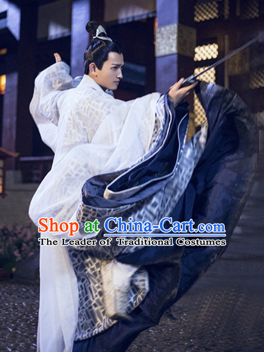 Ancient Chinese Swordsman Garment Costumes Garment Clothing and Coronet Headpieces Complete Set