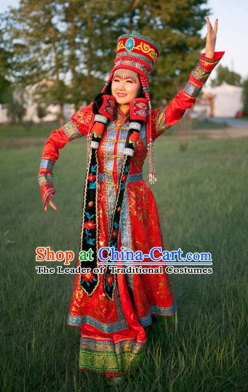 Ancient Chinese Mongolian Princess Clothing Garment Clothing and Hat Headpieces Complete Set