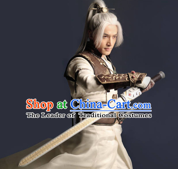 Chinese Ancient Swordsman Costume Clothes Complete Set for Men