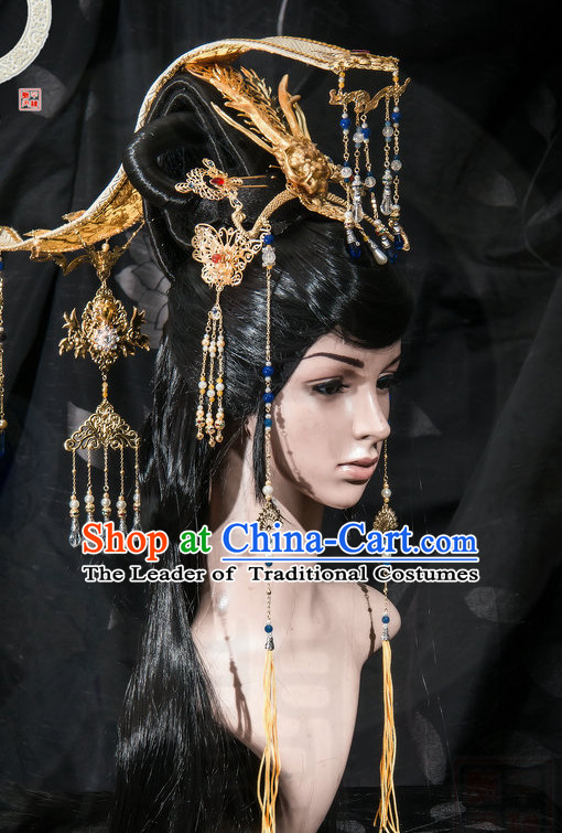 Tang Dynasty Wu Zetian Emperor Crown Headpieces Hair Accessories Set