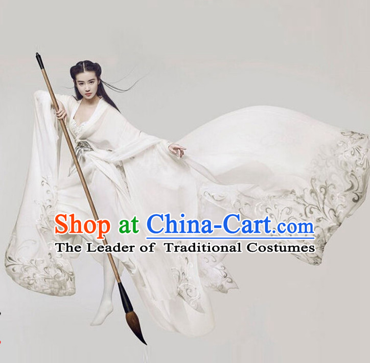 Asian Ancient Tang Dynasty Beauty Long Robes Clothing