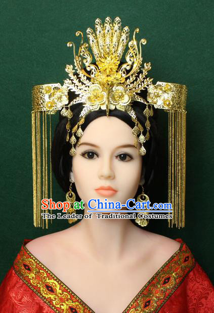 Chinese Ancient Style Hair Jewelry Accessories, Hairpins, Queen Tang Dynasty Xiuhe Suit Wedding Bride Phoenix Coronet, Hair Accessories Set for Women